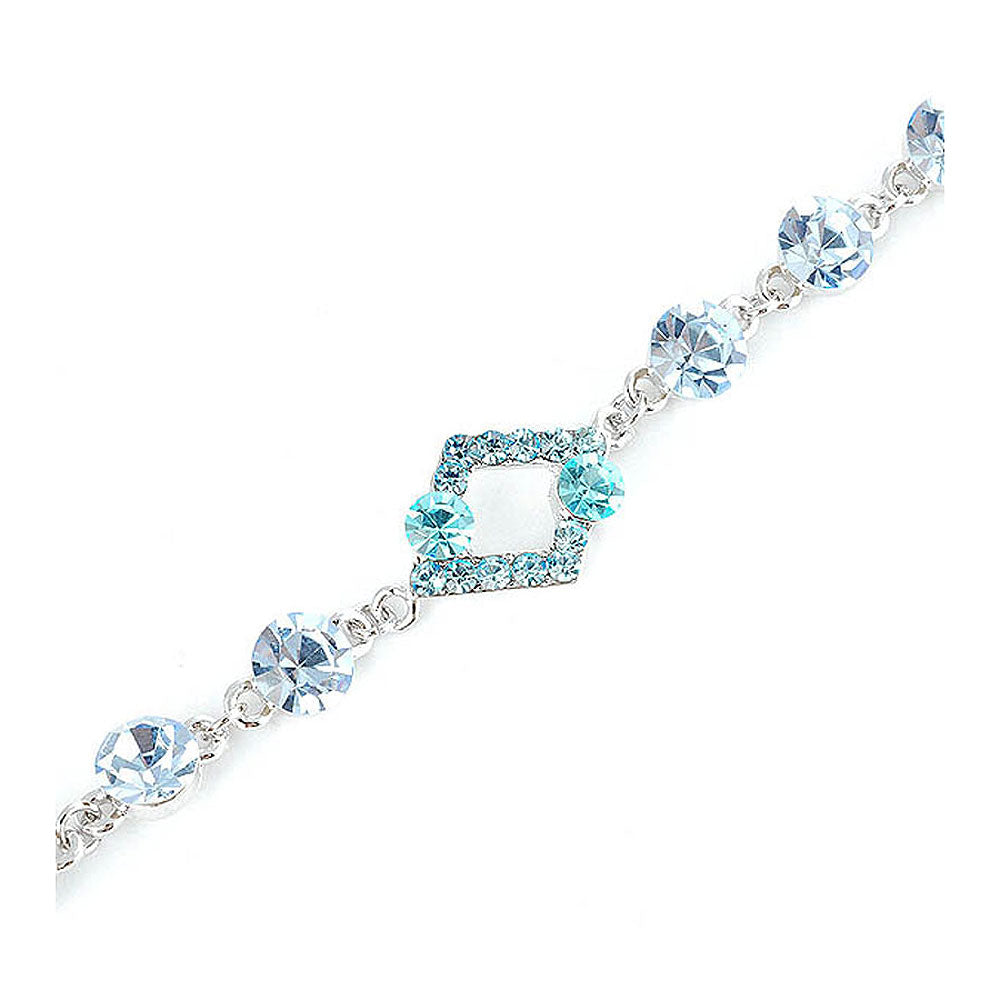 Fancy Rhombus Bracelet with Blue Austrian Element Crystals and CZ Beads