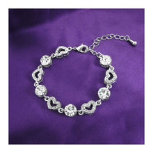 Load image into Gallery viewer, Sparkling Heart Bracelet with Silver Austrian Element Crystals