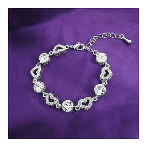 Sparkling Heart Bracelet with Silver Austrian Element Crystals