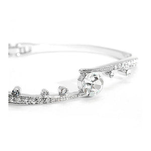 Elegant Bangle with Silver Austrian Element Crystals and CZ