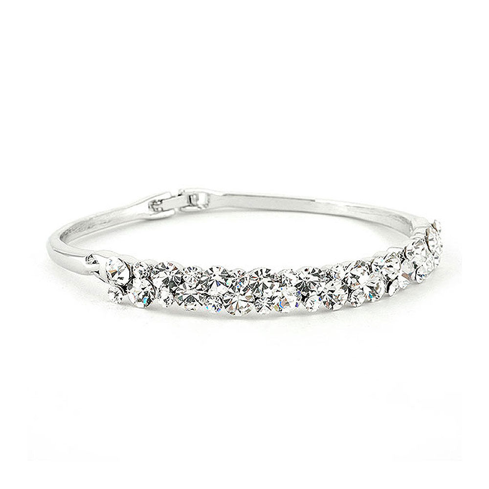 Elegant Bangle with Silver Austrian Element Crystals