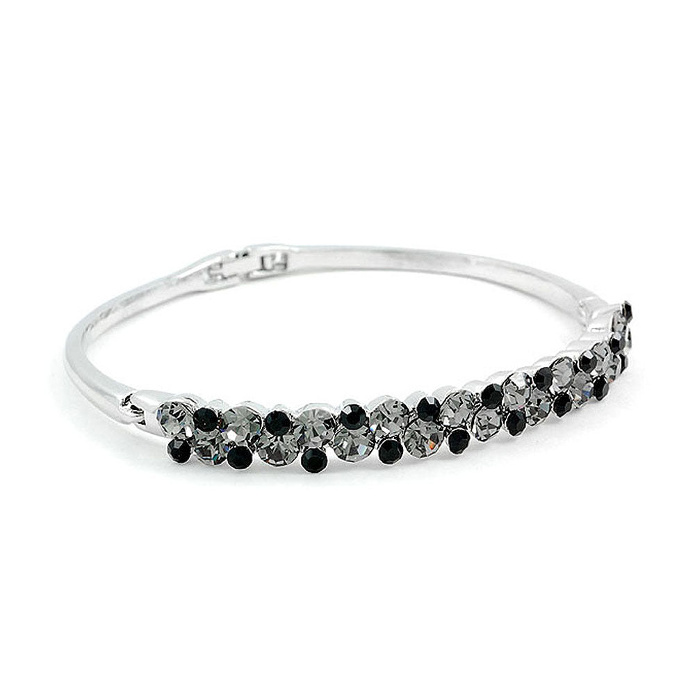 Elegant Bangle with Silver and Black Austrian Element Crystals