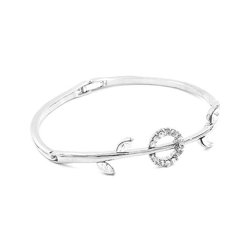 Elegant Bangle with Silver Austrian Element Crystals and CZ Beads