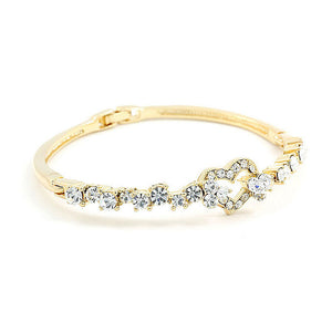 Elegant Golden Bangle with Silver Austrian Element Crystals