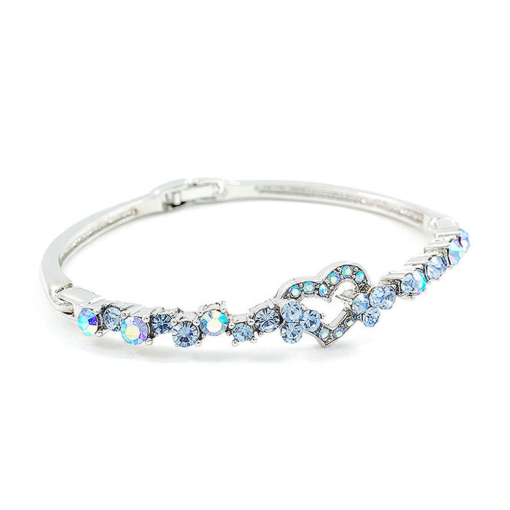 Elegant Bangle with Blue Austrian Element Crystals