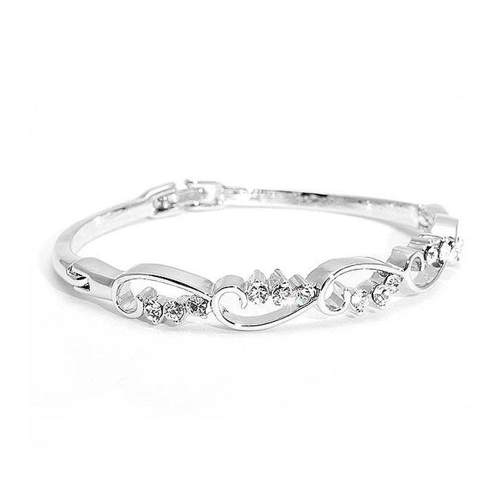 Wavy Bangle with Silver Austrian Element Crystals