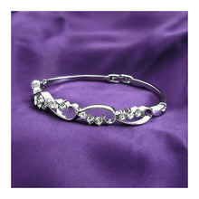 Load image into Gallery viewer, Wavy Bangle with Silver Austrian Element Crystals
