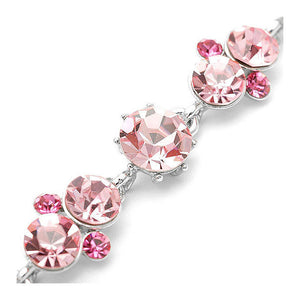Trendy Bracelet with Pink Austrian Element Crystals and CZ Bead