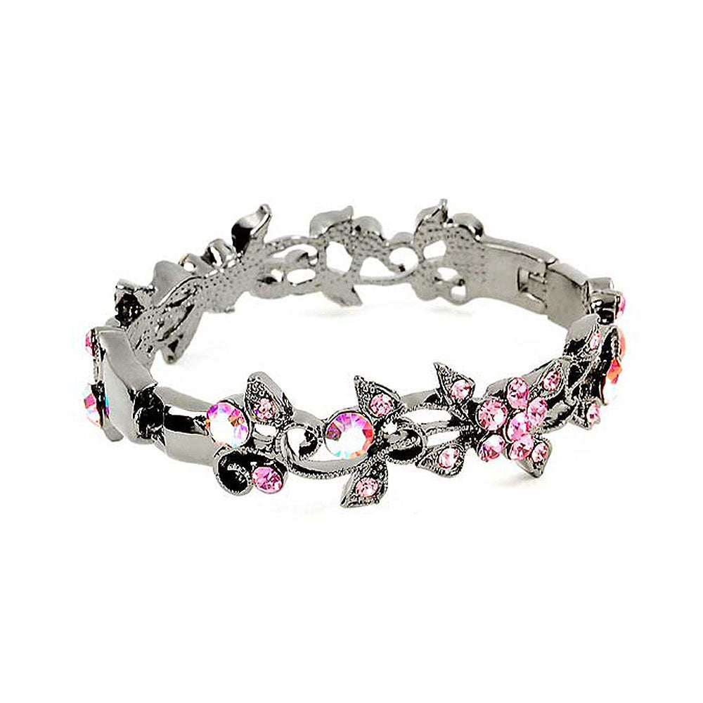 Elegant Flower Bangle with Pink Austrian Element Crystals