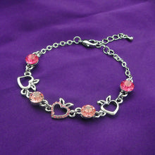 Load image into Gallery viewer, Heart Shape Apple Bracelet with Pink CZ and Austrian Element Crystals