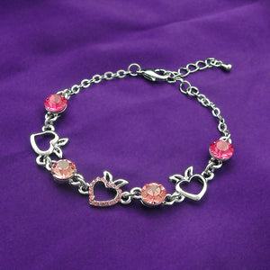 Heart Shape Apple Bracelet with Pink CZ and Austrian Element Crystals