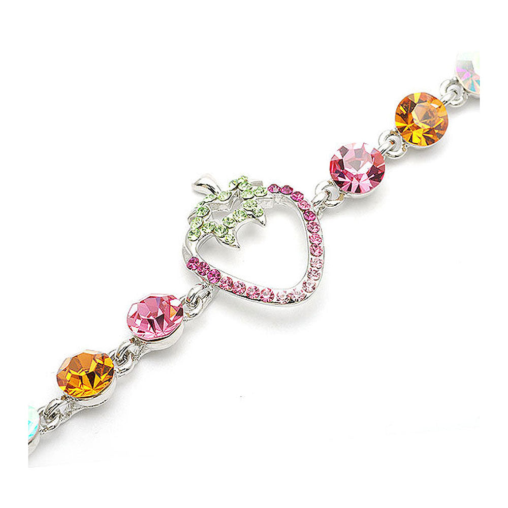 Strawberry Bracelet with CZ and Multi-colour Austrian Element Crystals