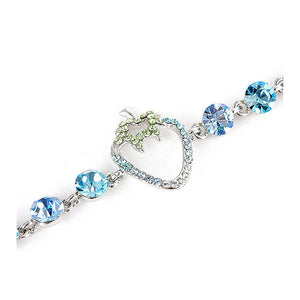 Strawberry Bracelet with Blue CZ and Multi-colour Austrian Element Crystals