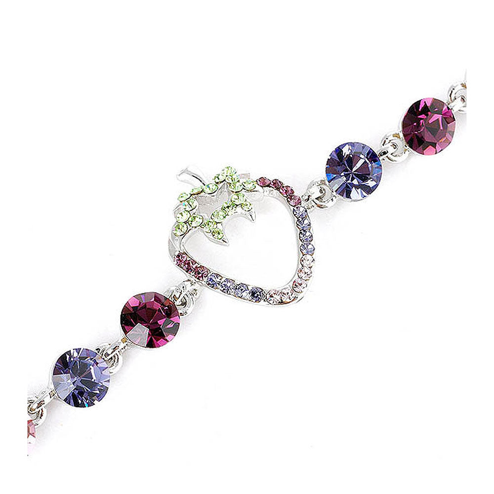 Strawberry Bracelet with Purple CZ and Multi-colour Austrian Element Crystals