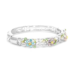 Elegant Flower Bangle with Multi-color Austrian Element Crystals