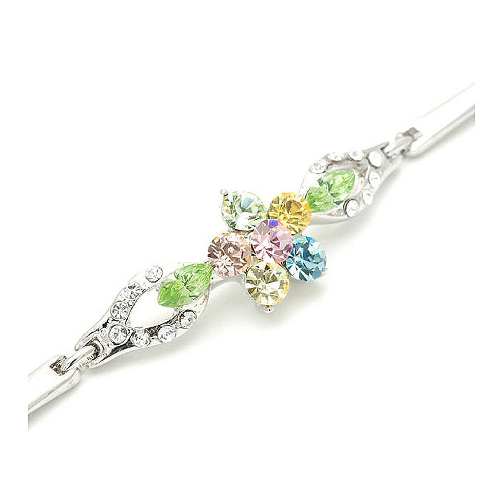 Flourishing Flower Bracelet with Multi-colour Austrian Element Crystals