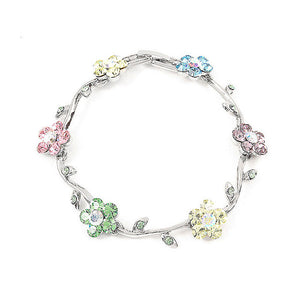 Colorful Flower Bracelet with Multi-color Austrian Element Crystals
