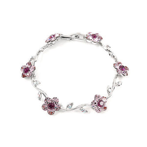 Purple Flower Bracelet with Purple Austrian Element Crystals