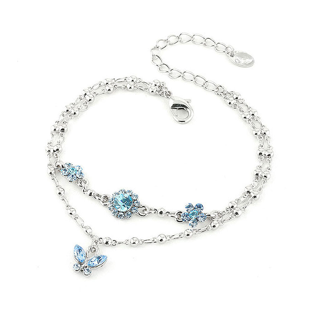 Two Layered Flower Bracelet with Butterfly Charm and Blue Austrian Element Crystals