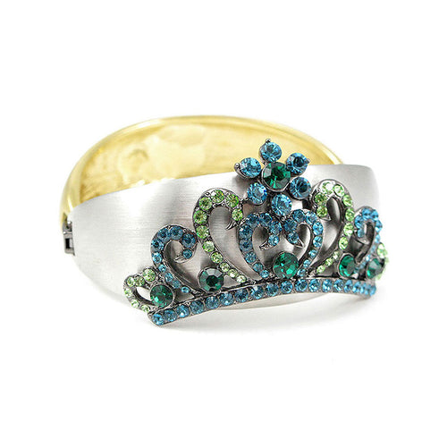 Elegant Crown Bangle with Blue and Green Austrian Element Crystal