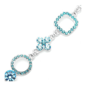 Fancy Graph-Mix Bracelet with Sky Blue CZ and Austrian Element Crystals