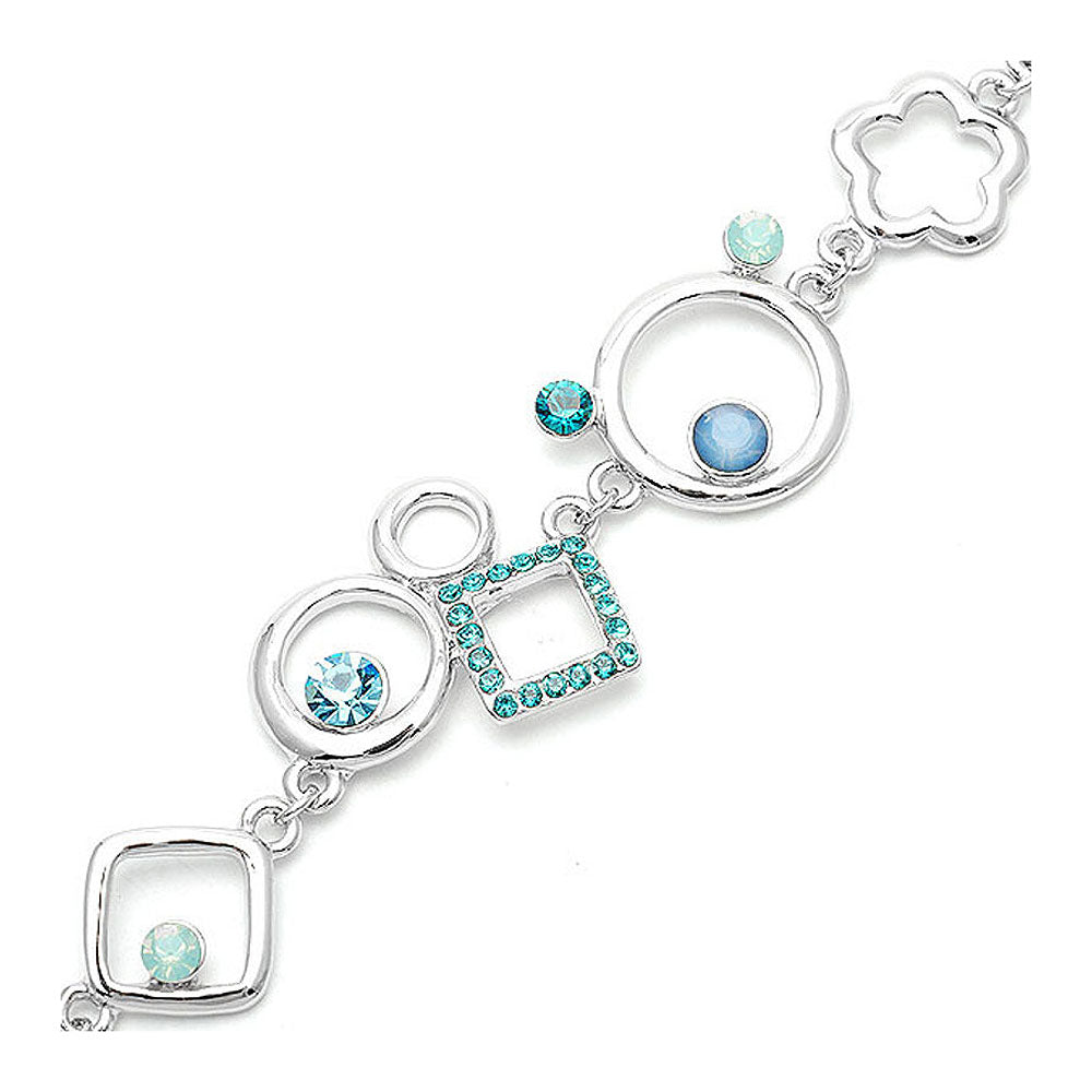 Fancy Graph Lover Bracelet with Blue Austrian Element Crystals and Iced Green CZ