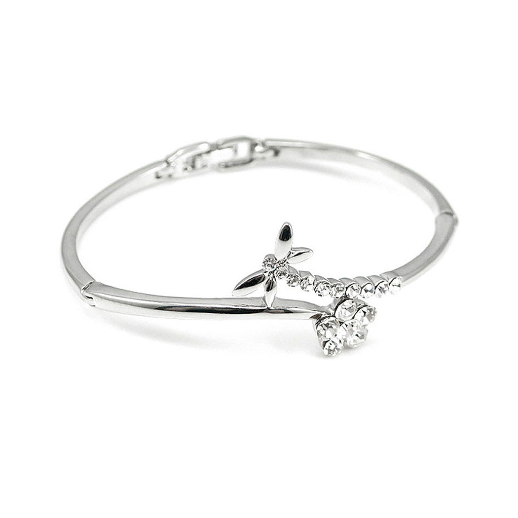 Elegant Dragonfly Bangle with Silver Austrian Element Crystal