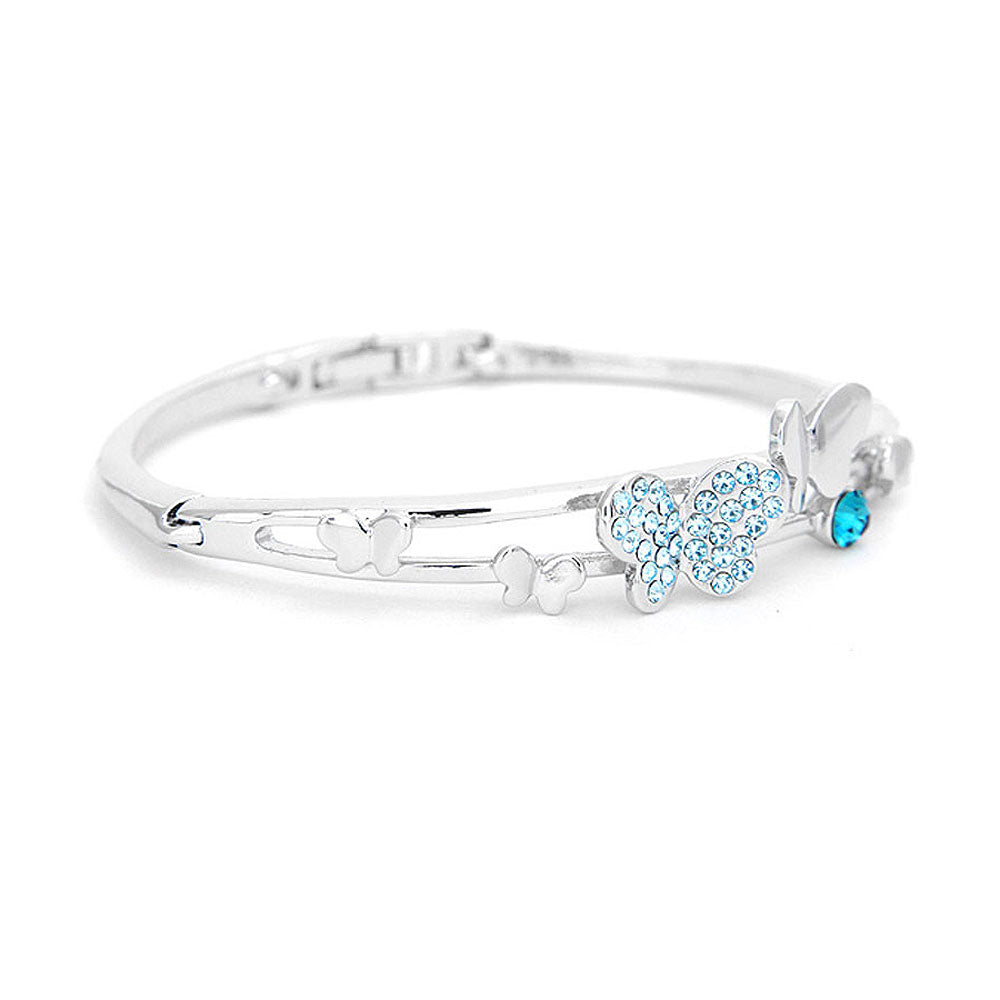 Cutie Butterfly Bangle with Blue Austrian Element Crystals
