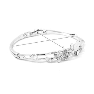 Cutie Butterfly Bangle with Silver Austrian Element Crystals