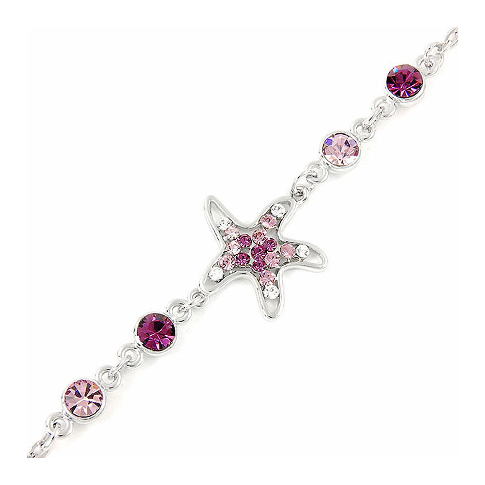 Sparkling Star Bracelet with Silver and Purple Austrian Element Crystals