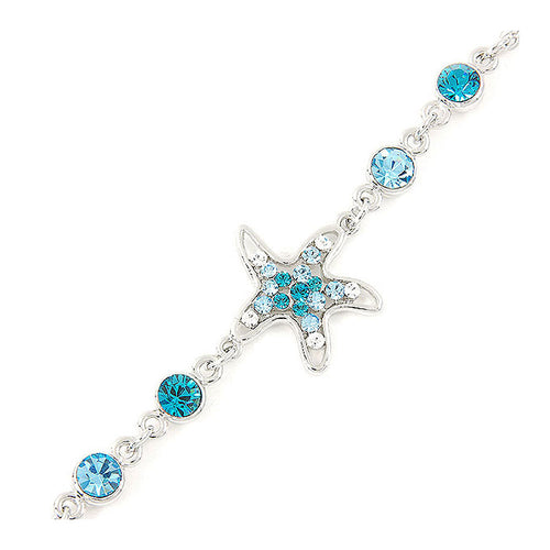Sparkling Star Bracelet with Silver and Blue Austrian Element Crystals