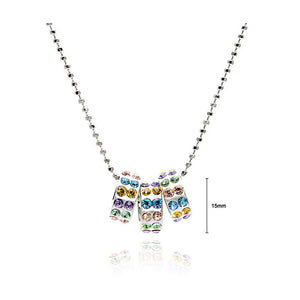 Round Moving Pendants with Multi-Color Austrian Element Crystals and Necklace