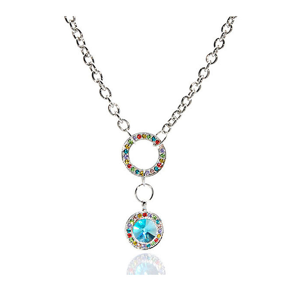 Blue Round Czech Crystal Bead Pendant with Multi-color Austrian Element Crystals and Necklace