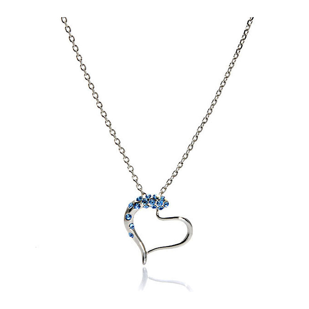 Heart Shape Pendant with Light Blue Austrian Element Crystals and Necklace