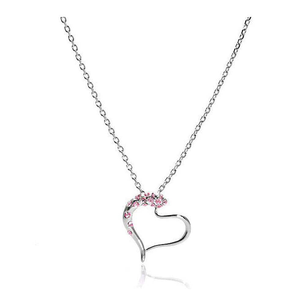 Heart Shape Pendant with Light Pink Austrian Element Crystals and Necklace