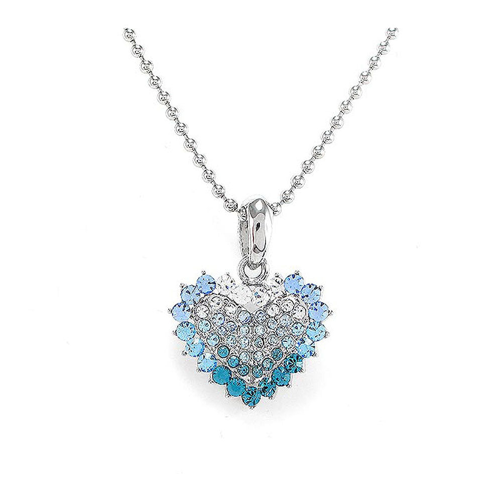 Heart Pendant with Blue Austrian Element Crystals and Necklace