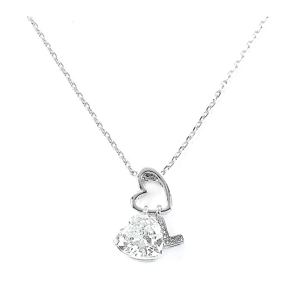 Elegant Heart Shape Pendant with CZ and character L charms