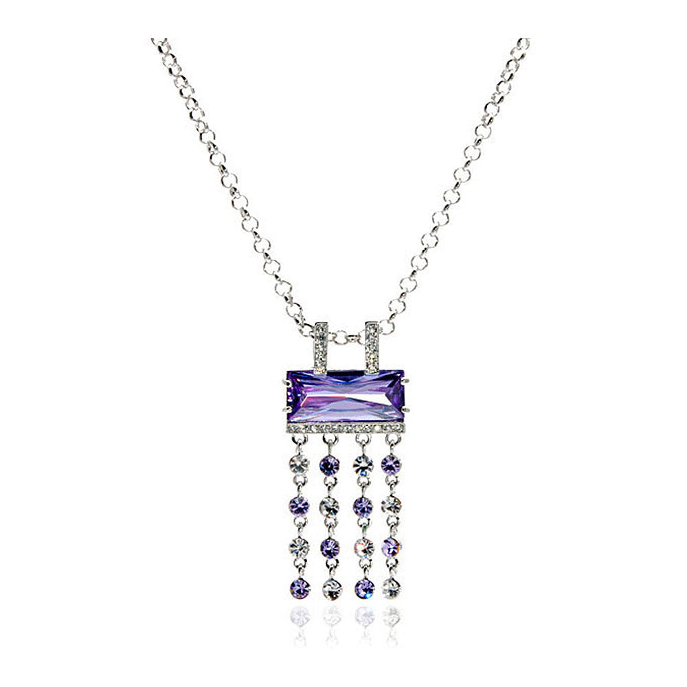 Purple Radient Shape Czech Crystal Bead Pendant with Austrian Element Crystals Tassels and Necklace