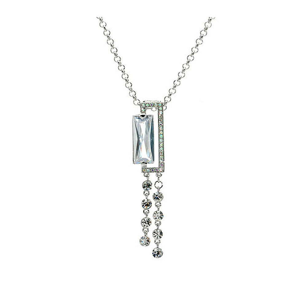 Silver Radient Shape Czech Crystal Bead Pendant with Austrian Element Crystals Tassels and Necklace