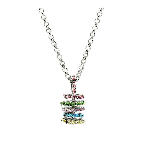 Color Layers Pendant with Multi-color Austrian Element Crystals and Necklace