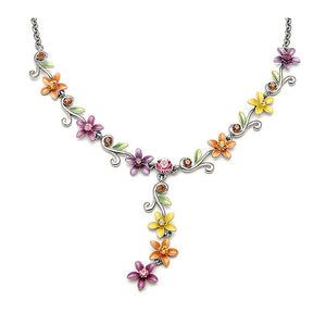 Orange Yellow and Purple Flowers Necklace with Austrian Element Crystals