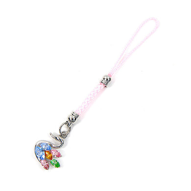Pink Strap with Swan Charm by Multi-color Austrian Element Crystals