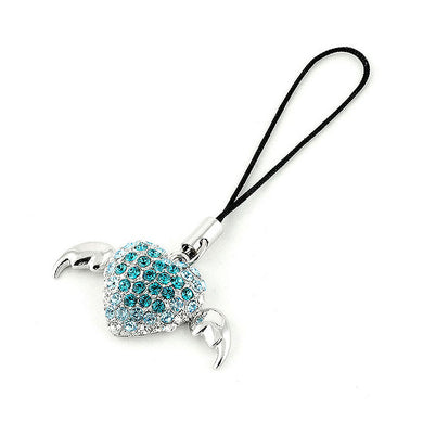 Black Strap with Winged Heart Charm in Blue and Silver Austrian Element Crystals