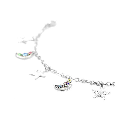 Fantasic Star and Moon Anklet with multi-color Austrian Element Crystals