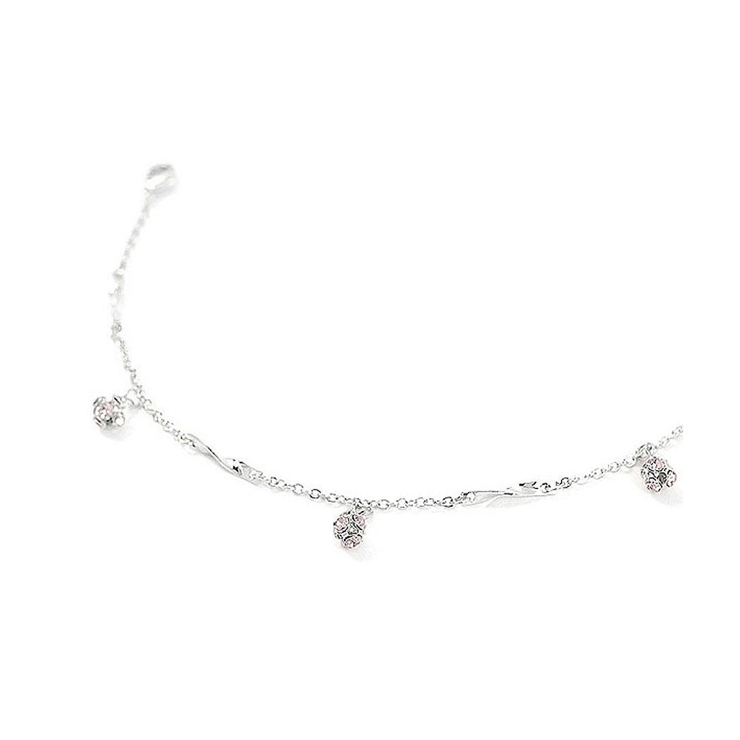 Elegant Ball Anklet with Purple Austrian Element Crystals