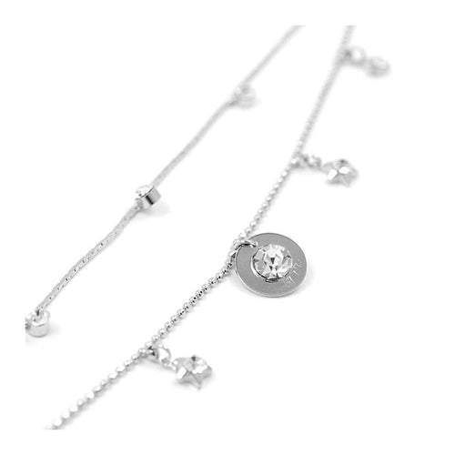 Elegant Starrish Anklet with Silver Austrian Element Crystals