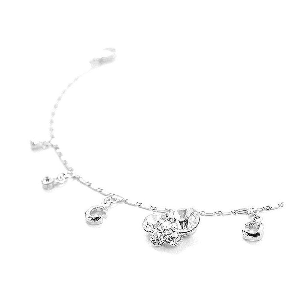 Cutie Butterfly Anklet with Silver Austrian Element Crystals