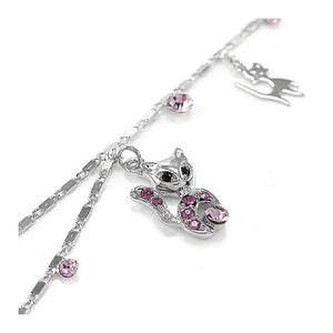 Cutie Cat Anklet with Purple Austrian Element Crystals