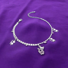 Load image into Gallery viewer, Cutie Cat Anklet with Purple Austrian Element Crystals