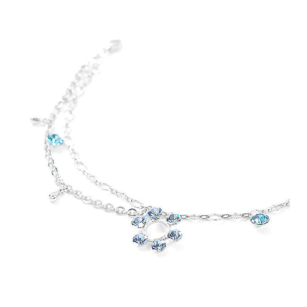 Flower Anklet with Blue Austrian Element Crystals